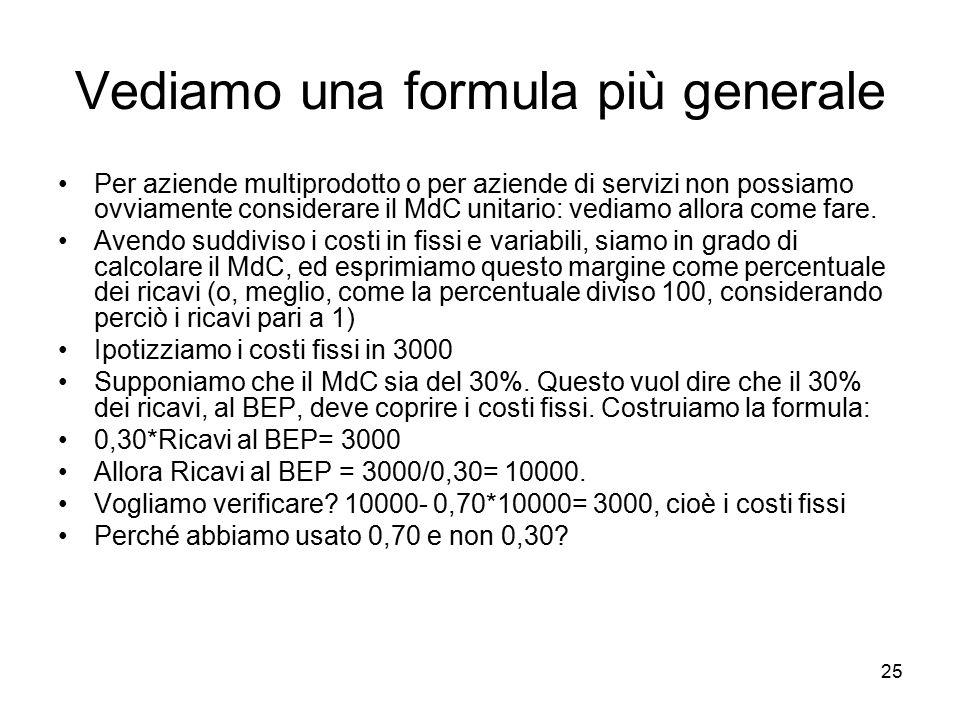 25 Vediamo una formula più generale Per aziende multiprodotto o per aziende di servizi non possiamo ovviamente considerare il MdC unitario: vediamo al