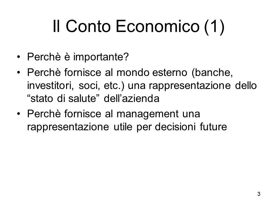 """3 Il Conto Economico (1) Perchè è importante? Perchè fornisce al mondo esterno (banche, investitori, soci, etc.) una rappresentazione dello """"stato di"""