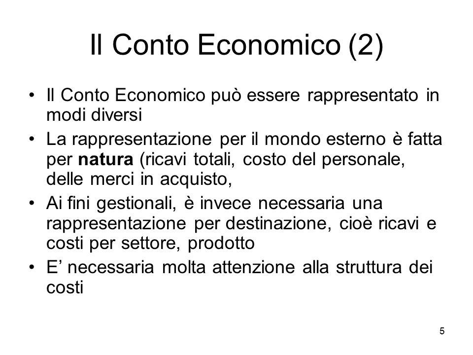 5 Il Conto Economico (2) Il Conto Economico può essere rappresentato in modi diversi La rappresentazione per il mondo esterno è fatta per natura (rica