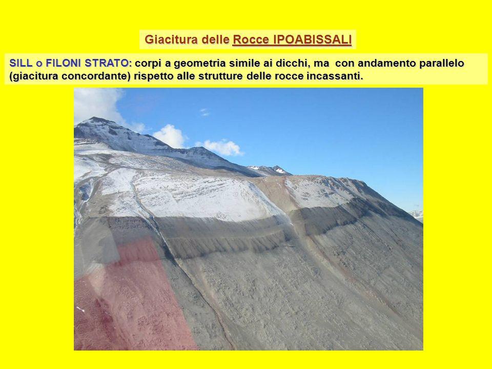 Giacitura delle Rocce IPOABISSALI SILL o FILONI STRATO: corpi a geometria simile ai dicchi, ma con andamento parallelo (giacitura concordante) rispetto alle strutture delle rocce incassanti.