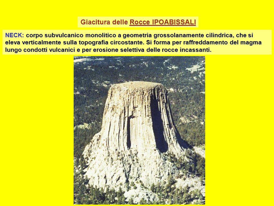 Giacitura delle Rocce IPOABISSALI NECK: corpo subvulcanico monolitico a geometria grossolanamente cilindrica, che si eleva verticalmente sulla topografia circostante.