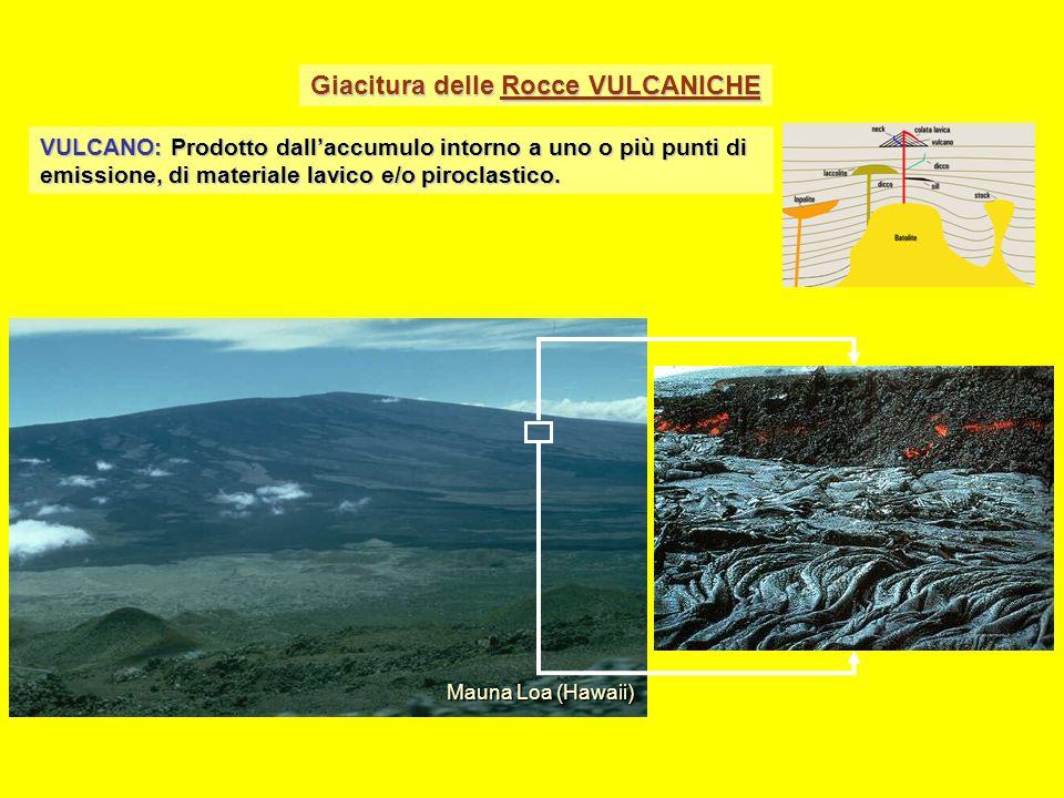 Giacitura delle Rocce VULCANICHE VULCANO: Prodotto dall'accumulo intorno a uno o più punti di emissione, di materiale lavico e/o piroclastico. Mauna L