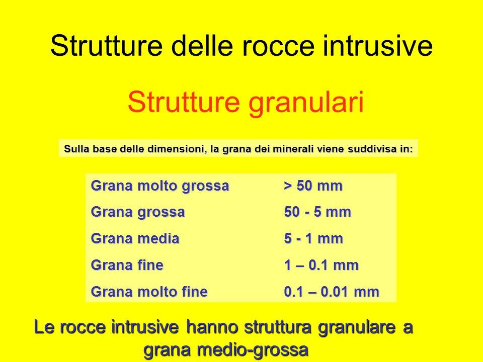 Strutture delle rocce intrusive Sulla base delle dimensioni, la grana dei minerali viene suddivisa in: Strutture granulari Grana molto grossa > 50 mm