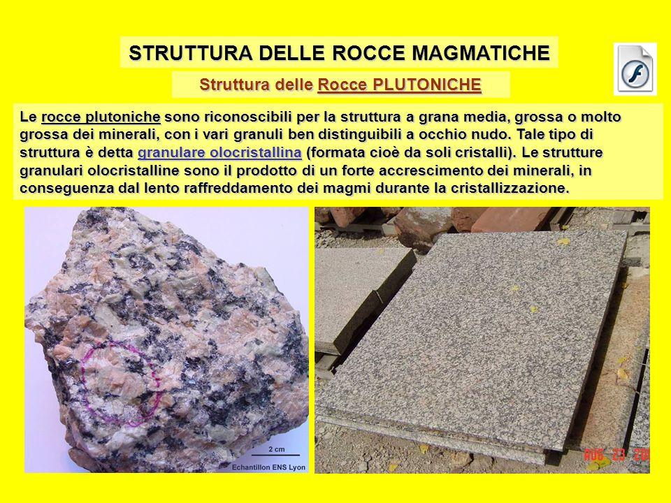 Struttura delle Rocce PLUTONICHE STRUTTURA DELLE ROCCE MAGMATICHE Le rocce plutoniche sono riconoscibili per la struttura a grana media, grossa o molto grossa dei minerali, con i vari granuli ben distinguibili a occhio nudo.