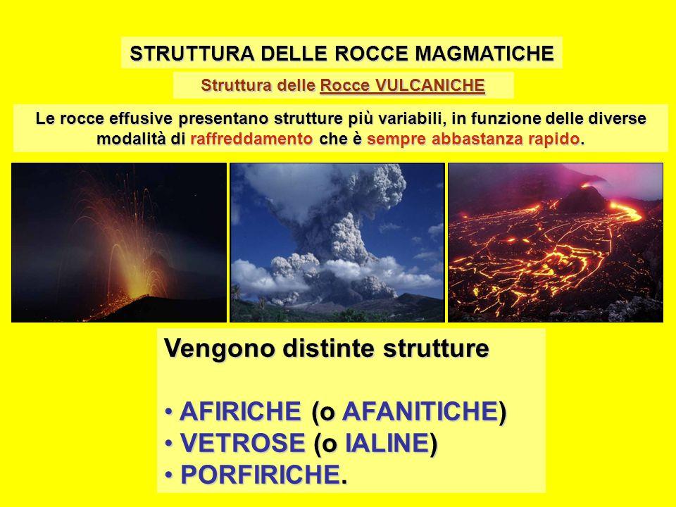 Struttura delle Rocce VULCANICHE STRUTTURA DELLE ROCCE MAGMATICHE Le rocce effusive presentano strutture più variabili, in funzione delle diverse modalità di raffreddamento che è sempre abbastanza rapido.