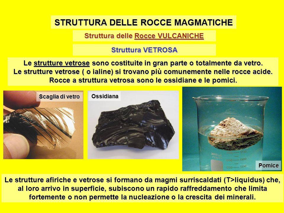 Struttura delle Rocce VULCANICHE STRUTTURA DELLE ROCCE MAGMATICHE Struttura VETROSA Le strutture vetrose sono costituite in gran parte o totalmente da
