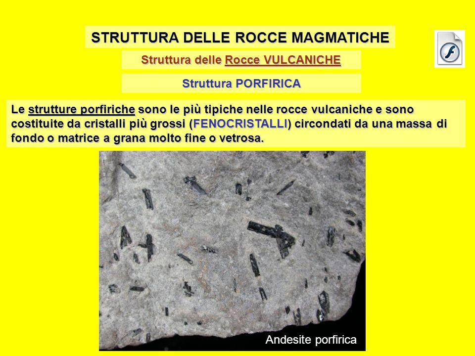 Struttura delle Rocce VULCANICHE STRUTTURA DELLE ROCCE MAGMATICHE Struttura PORFIRICA Le strutture porfiriche sono le più tipiche nelle rocce vulcanic