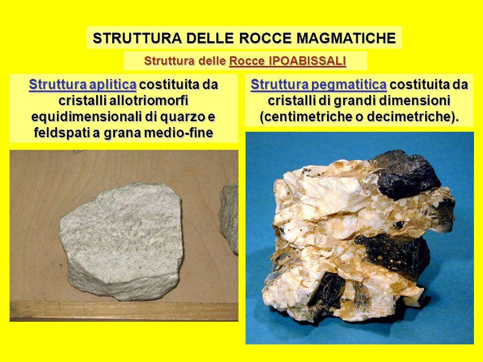 Struttura delle Rocce IPOABISSALI STRUTTURA DELLE ROCCE MAGMATICHE Struttura aplitica costituita da cristalli allotriomorfi equidimensionali di quarzo