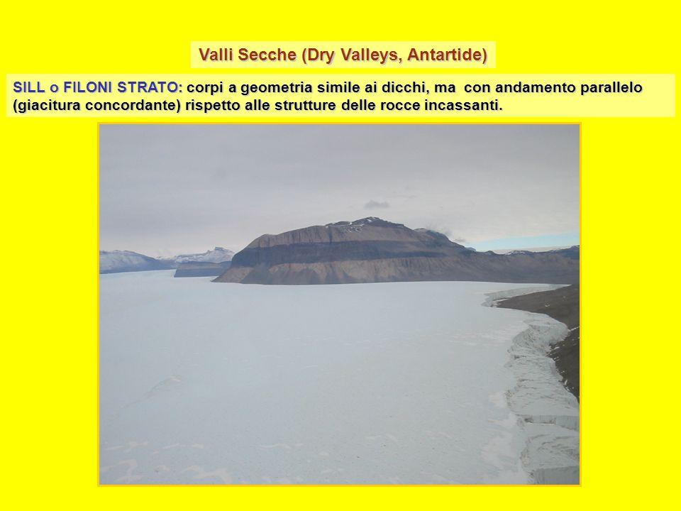 SILL o FILONI STRATO: corpi a geometria simile ai dicchi, ma con andamento parallelo (giacitura concordante) rispetto alle strutture delle rocce incas