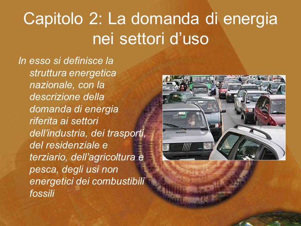 Capitolo 2: La domanda di energia nei settori d'uso In esso si definisce la struttura energetica nazionale, con la descrizione della domanda di energi