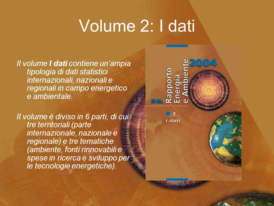 Volume 2: I dati Il volume I dati contiene un'ampia tipologia di dati statistici internazionali, nazionali e regionali in campo energetico e ambiental
