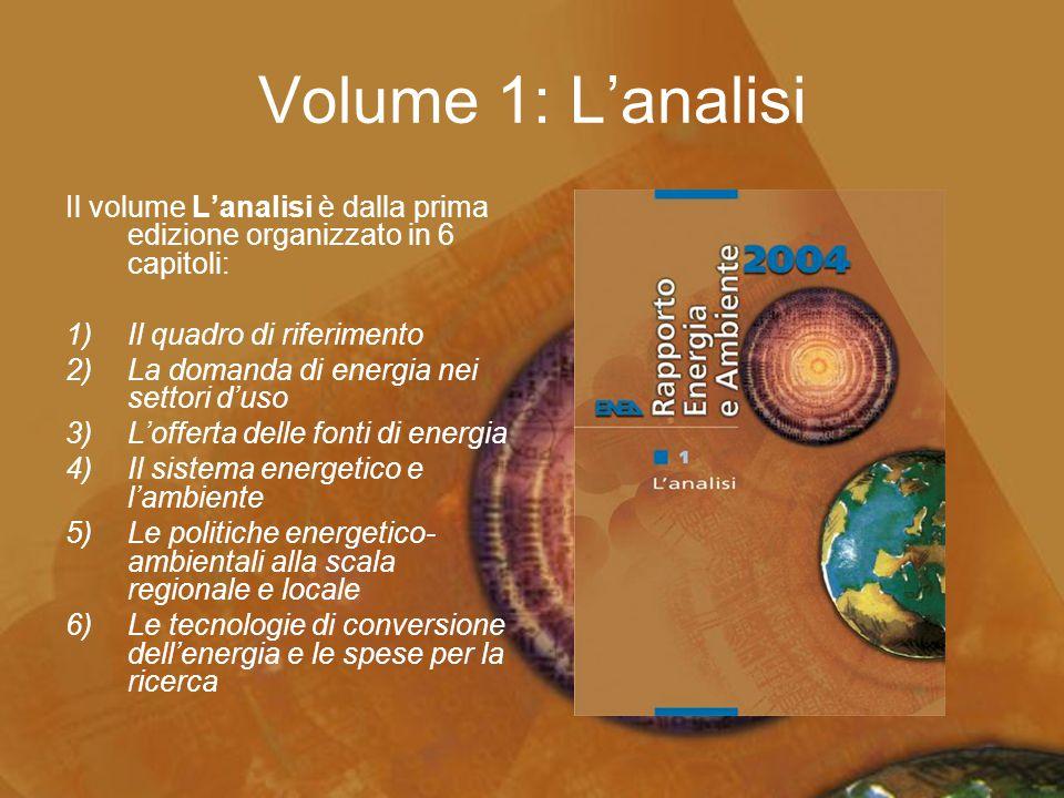 Volume 1: L'analisi Il volume L'analisi è dalla prima edizione organizzato in 6 capitoli: 1)Il quadro di riferimento 2)La domanda di energia nei setto