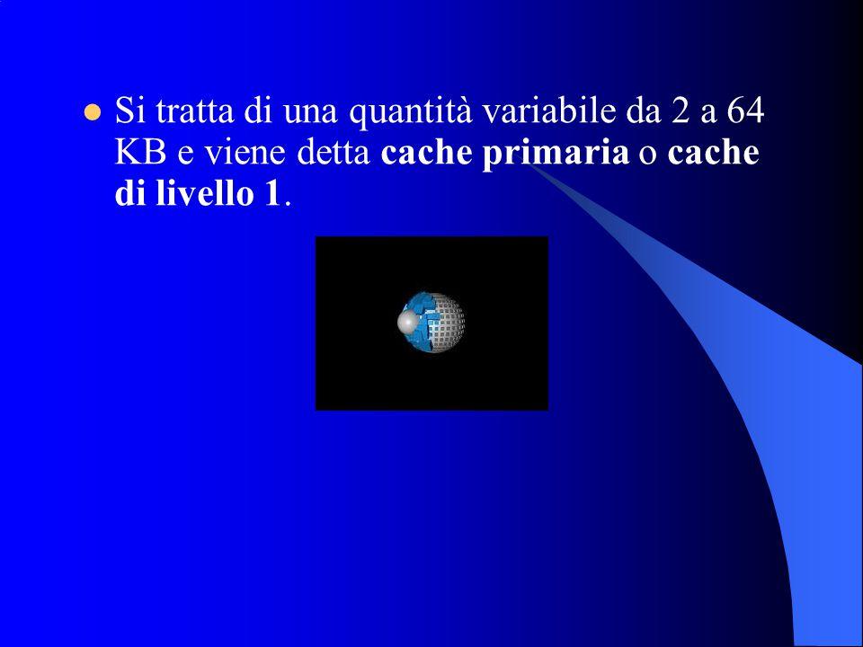 Si tratta di una quantità variabile da 2 a 64 KB e viene detta cache primaria o cache di livello 1.