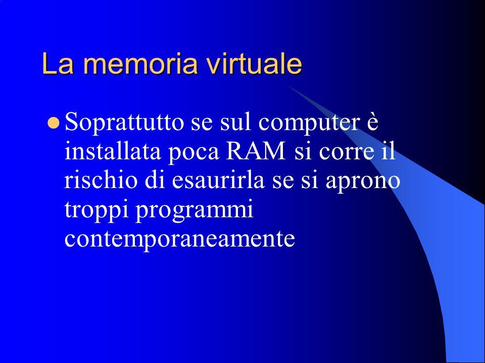 La memoria virtuale Soprattutto se sul computer è installata poca RAM si corre il rischio di esaurirla se si aprono troppi programmi contemporaneament