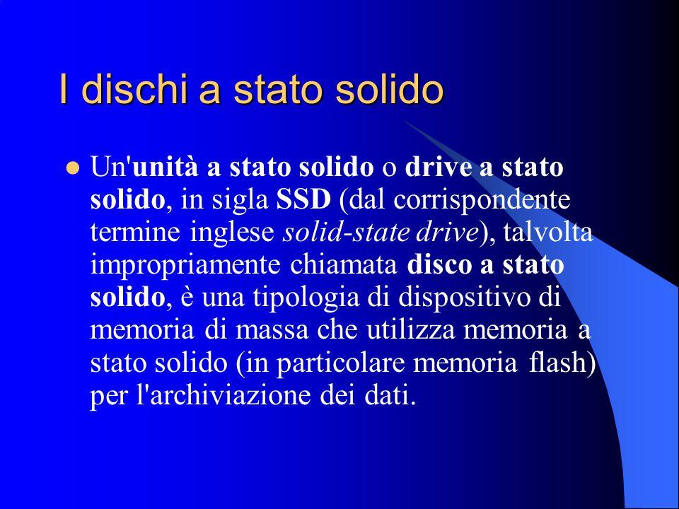 I dischi a stato solido Un'unità a stato solido o drive a stato solido, in sigla SSD (dal corrispondente termine inglese solid-state drive), talvolta