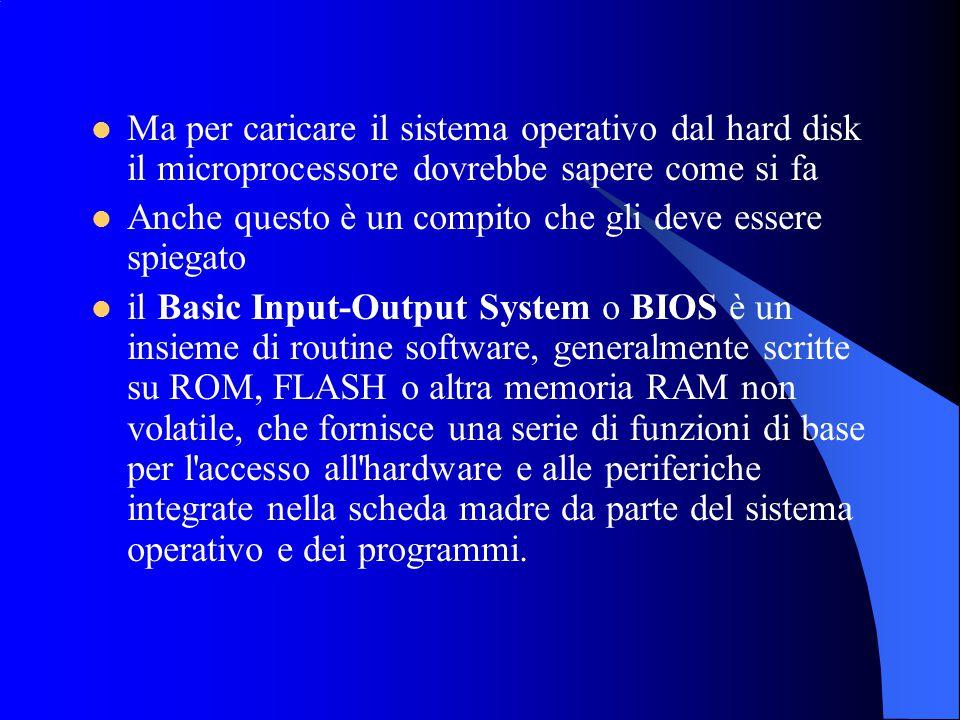 Ma per caricare il sistema operativo dal hard disk il microprocessore dovrebbe sapere come si fa Anche questo è un compito che gli deve essere spiegat