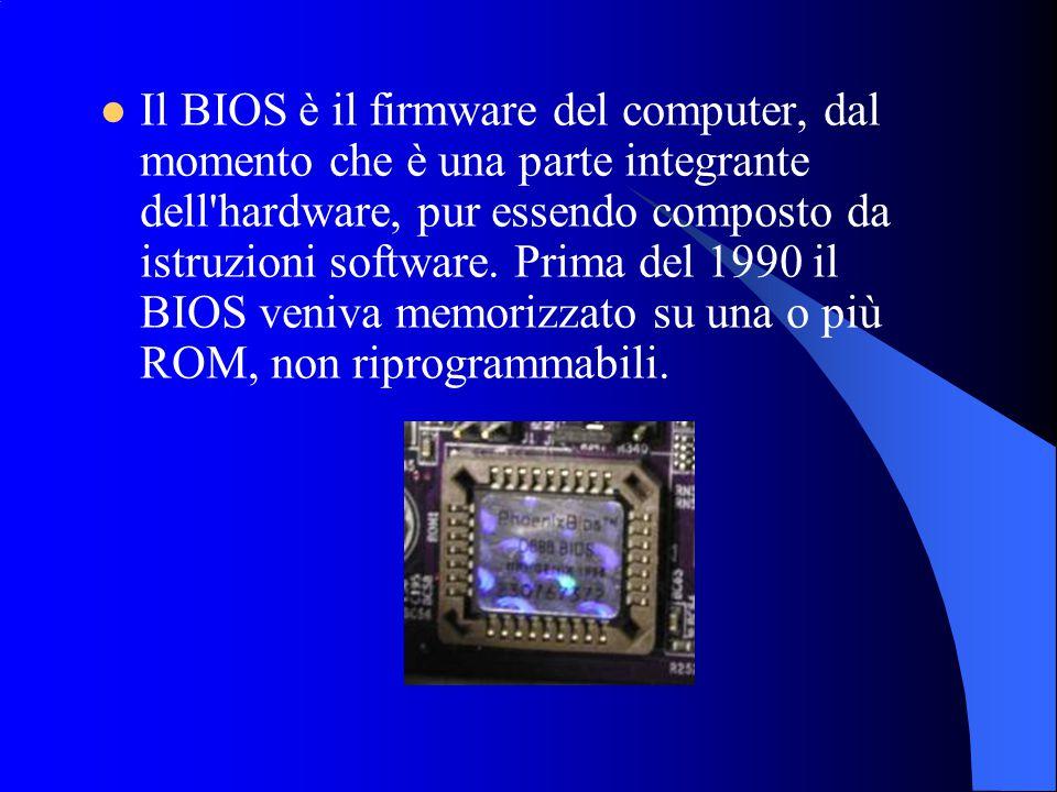 Il BIOS è il firmware del computer, dal momento che è una parte integrante dell'hardware, pur essendo composto da istruzioni software. Prima del 1990