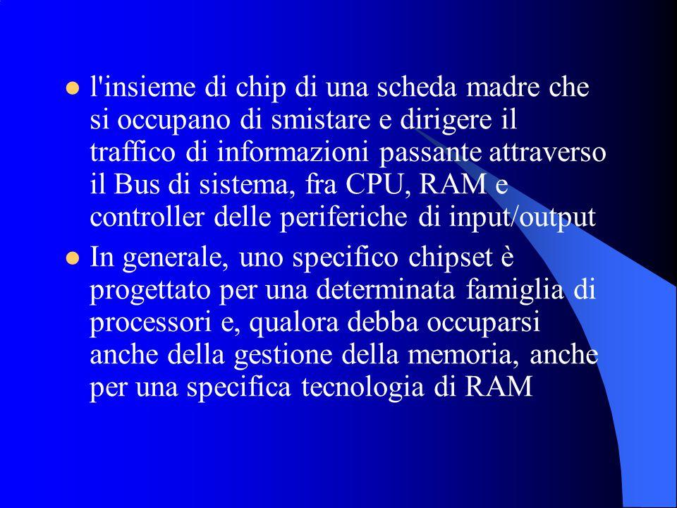 l insieme di chip di una scheda madre che si occupano di smistare e dirigere il traffico di informazioni passante attraverso il Bus di sistema, fra CPU, RAM e controller delle periferiche di input/output In generale, uno specifico chipset è progettato per una determinata famiglia di processori e, qualora debba occuparsi anche della gestione della memoria, anche per una specifica tecnologia di RAM