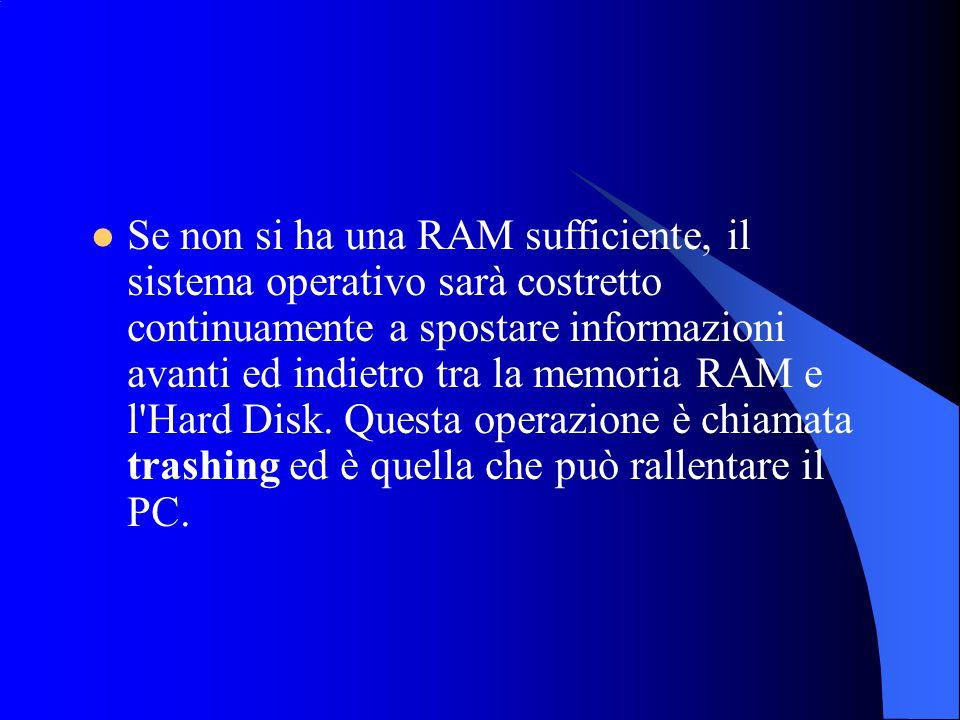 Se non si ha una RAM sufficiente, il sistema operativo sarà costretto continuamente a spostare informazioni avanti ed indietro tra la memoria RAM e l Hard Disk.