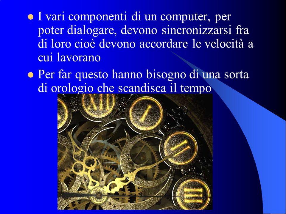 I vari componenti di un computer, per poter dialogare, devono sincronizzarsi fra di loro cioè devono accordare le velocità a cui lavorano Per far questo hanno bisogno di una sorta di orologio che scandisca il tempo