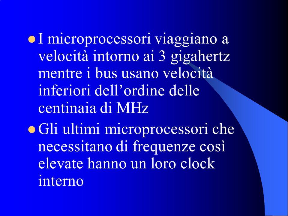 I microprocessori viaggiano a velocità intorno ai 3 gigahertz mentre i bus usano velocità inferiori dell'ordine delle centinaia di MHz Gli ultimi microprocessori che necessitano di frequenze così elevate hanno un loro clock interno