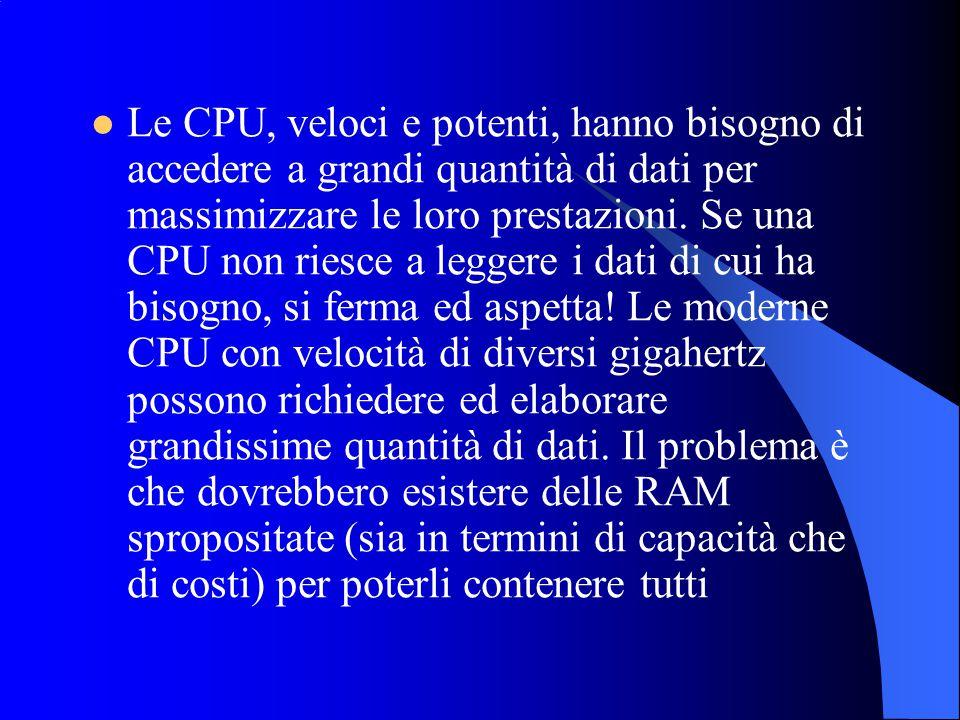 Le CPU, veloci e potenti, hanno bisogno di accedere a grandi quantità di dati per massimizzare le loro prestazioni. Se una CPU non riesce a leggere i