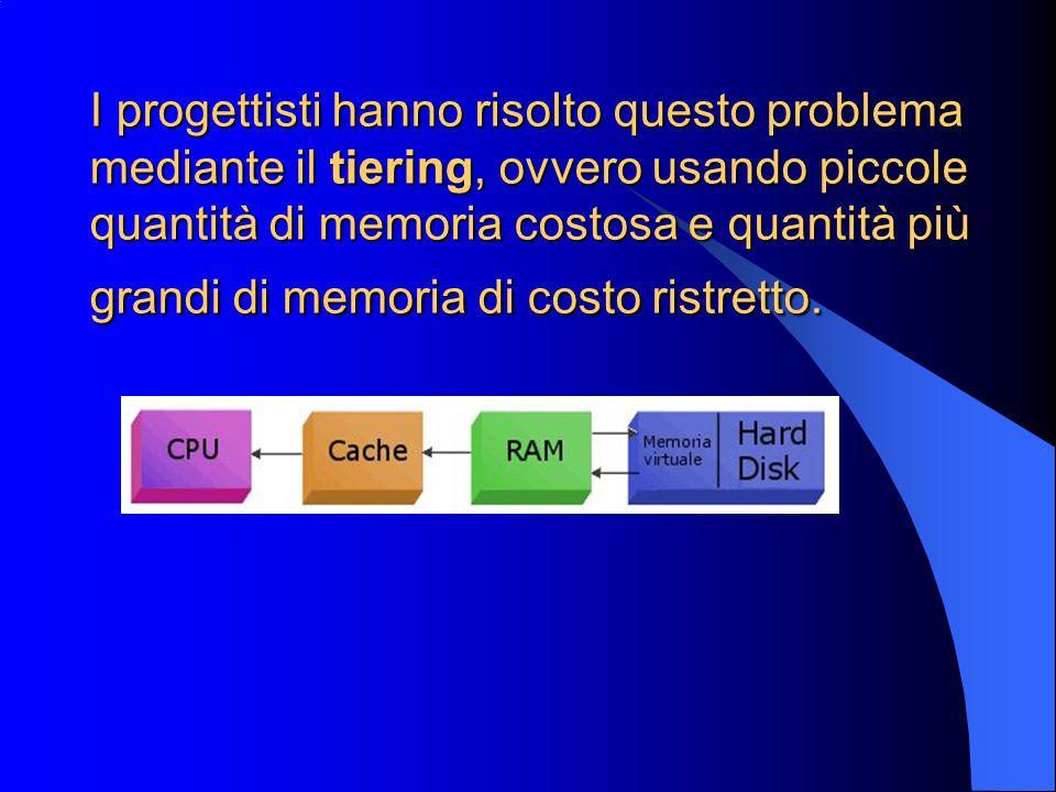 I progettisti hanno risolto questo problema mediante il tiering, ovvero usando piccole quantità di memoria costosa e quantità più grandi di memoria di