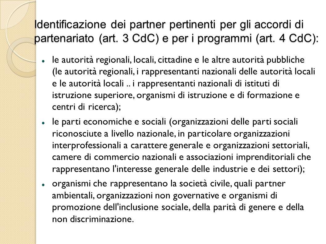 Identificazione dei partner pertinenti per gli accordi di partenariato (art.