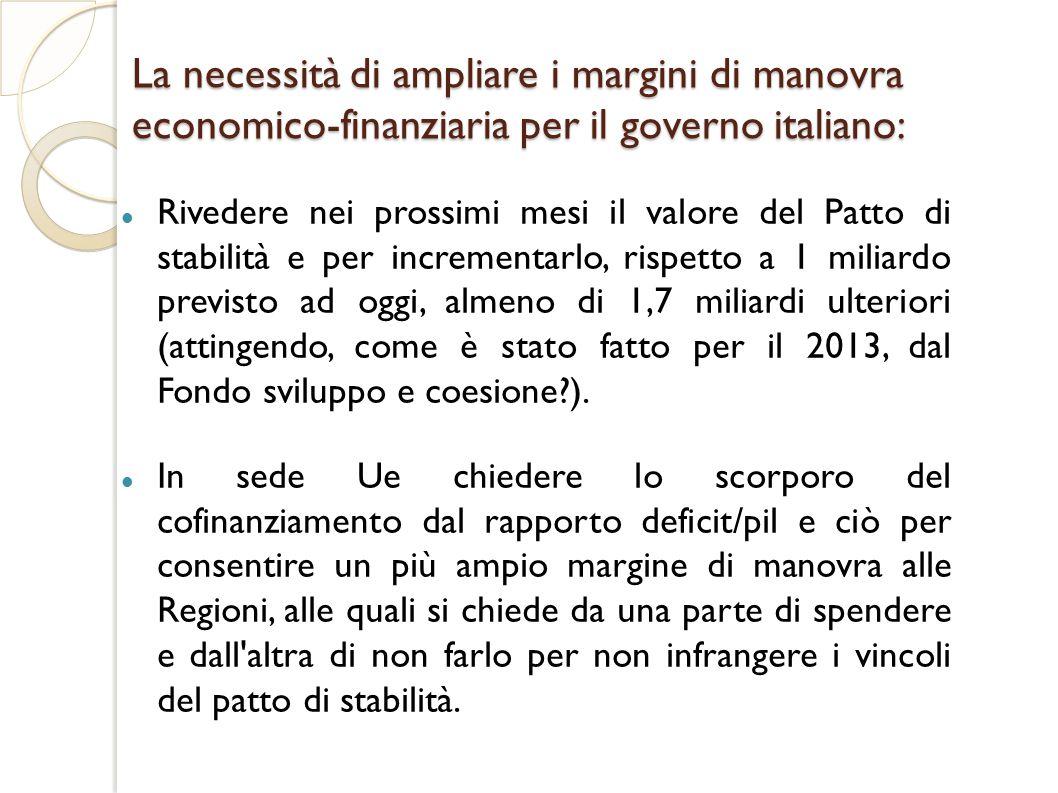 La necessità di ampliare i margini di manovra economico-finanziaria per il governo italiano: Rivedere nei prossimi mesi il valore del Patto di stabilità e per incrementarlo, rispetto a 1 miliardo previsto ad oggi, almeno di 1,7 miliardi ulteriori (attingendo, come è stato fatto per il 2013, dal Fondo sviluppo e coesione?).