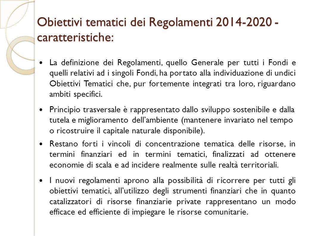 Obiettivi tematici dei Regolamenti 2014-2020 - caratteristiche: La definizione dei Regolamenti, quello Generale per tutti i Fondi e quelli relativi ad i singoli Fondi, ha portato alla individuazione di undici Obiettivi Tematici che, pur fortemente integrati tra loro, riguardano ambiti specifici.