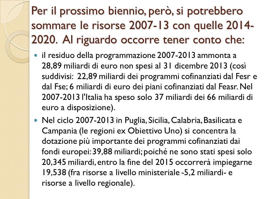 Per il prossimo biennio, però, si potrebbero sommare le risorse 2007-13 con quelle 2014- 2020.