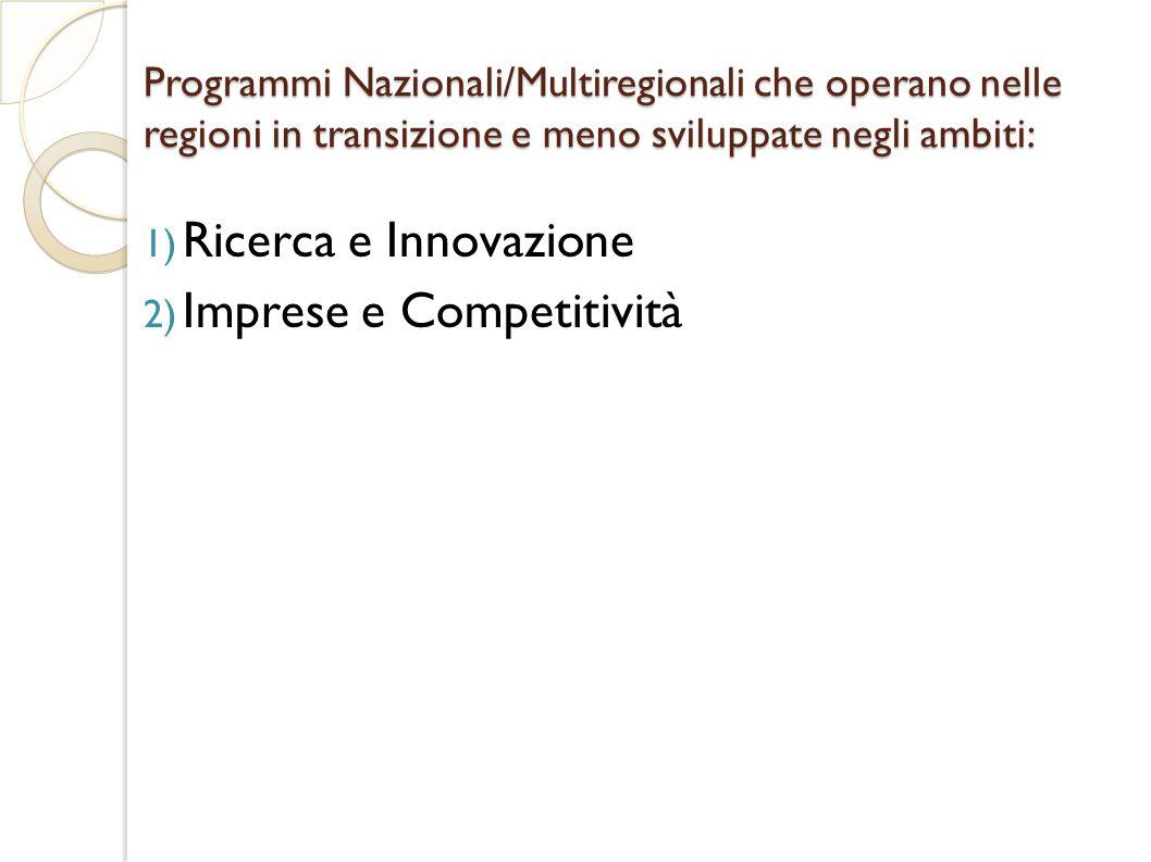 Programmi Nazionali/Multiregionali che operano nelle regioni in transizione e meno sviluppate negli ambiti: 1) Ricerca e Innovazione 2) Imprese e Competitività