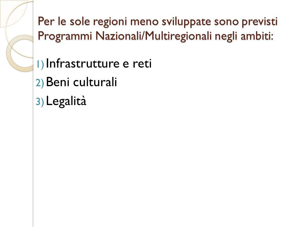 Per le sole regioni meno sviluppate sono previsti Programmi Nazionali/Multiregionali negli ambiti: 1) Infrastrutture e reti 2) Beni culturali 3) Legalità