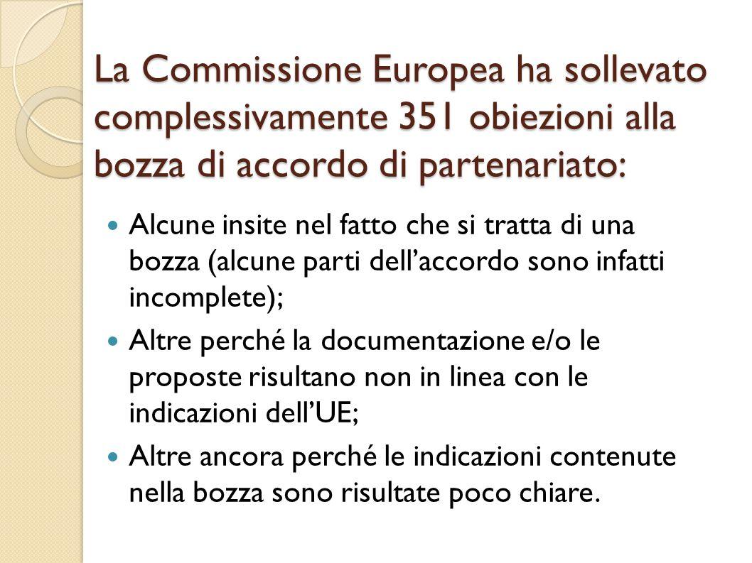 La Commissione Europea ha sollevato complessivamente 351 obiezioni alla bozza di accordo di partenariato: Alcune insite nel fatto che si tratta di una bozza (alcune parti dell'accordo sono infatti incomplete); Altre perché la documentazione e/o le proposte risultano non in linea con le indicazioni dell'UE; Altre ancora perché le indicazioni contenute nella bozza sono risultate poco chiare.