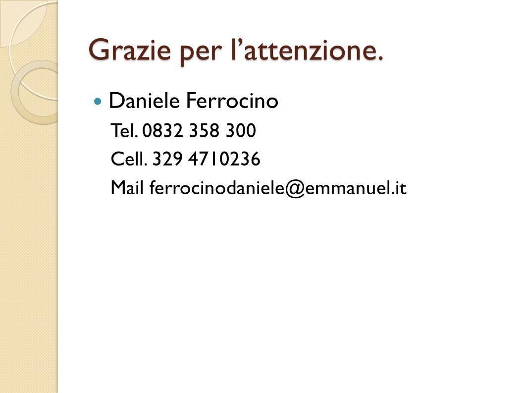 Grazie per l'attenzione.Daniele Ferrocino Tel. 0832 358 300 Cell.