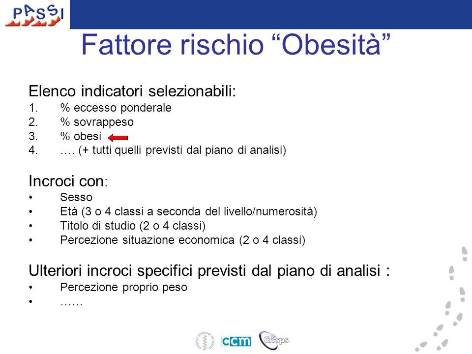 Fattore rischio Obesità Elenco indicatori selezionabili: 1.% eccesso ponderale 2.% sovrappeso 3.% obesi 4.….