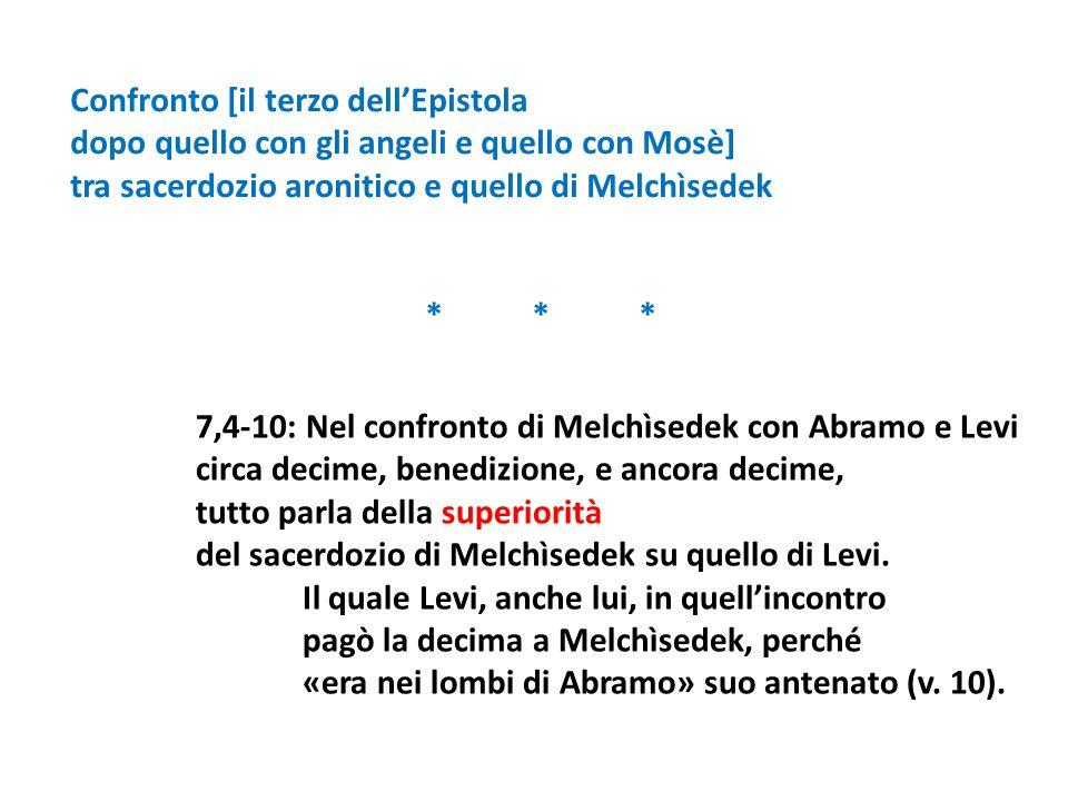 7,4-10: Nel confronto di Melchìsedek con Abramo e Levi circa decime, benedizione, e ancora decime, tutto parla della superiorità del sacerdozio di Mel