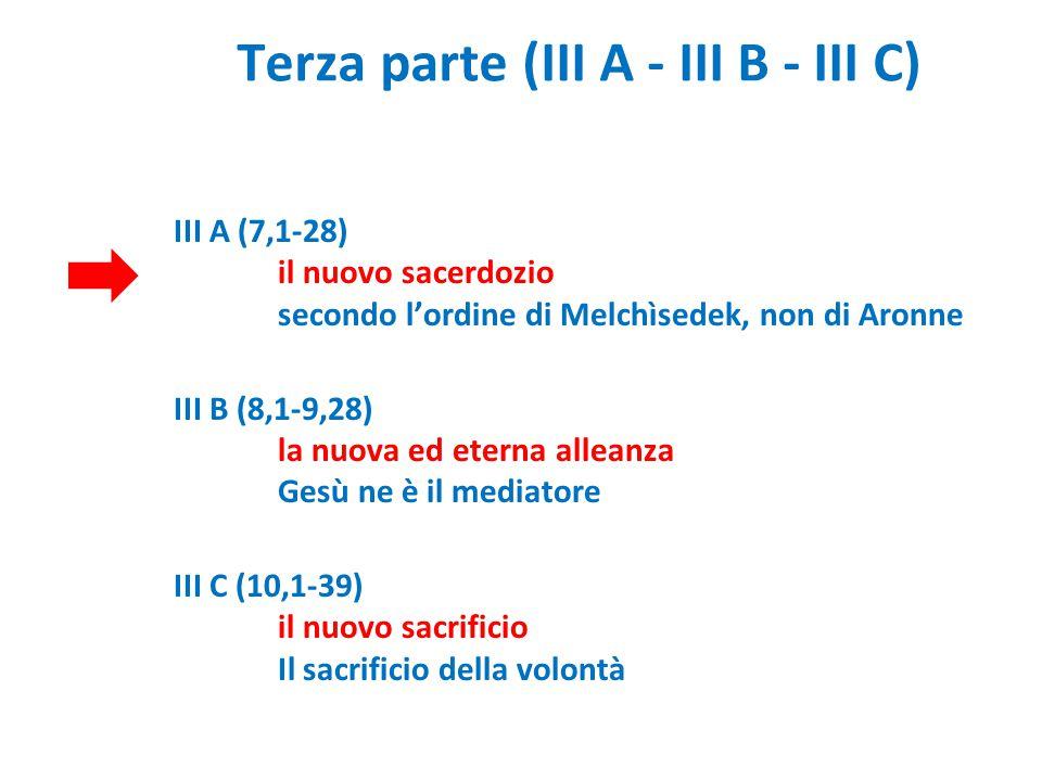 Terza parte (III A - III B - III C) III A (7,1-28) il nuovo sacerdozio secondo l'ordine di Melchìsedek, non di Aronne III B (8,1-9,28) la nuova ed ete