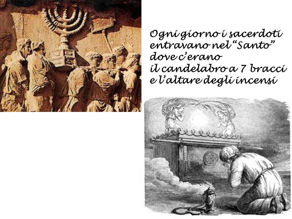 """Ogni giorno i sacerdoti entravano nel """"Santo"""" dove c'erano il candelabro a 7 bracci e l'altare degli incensi"""