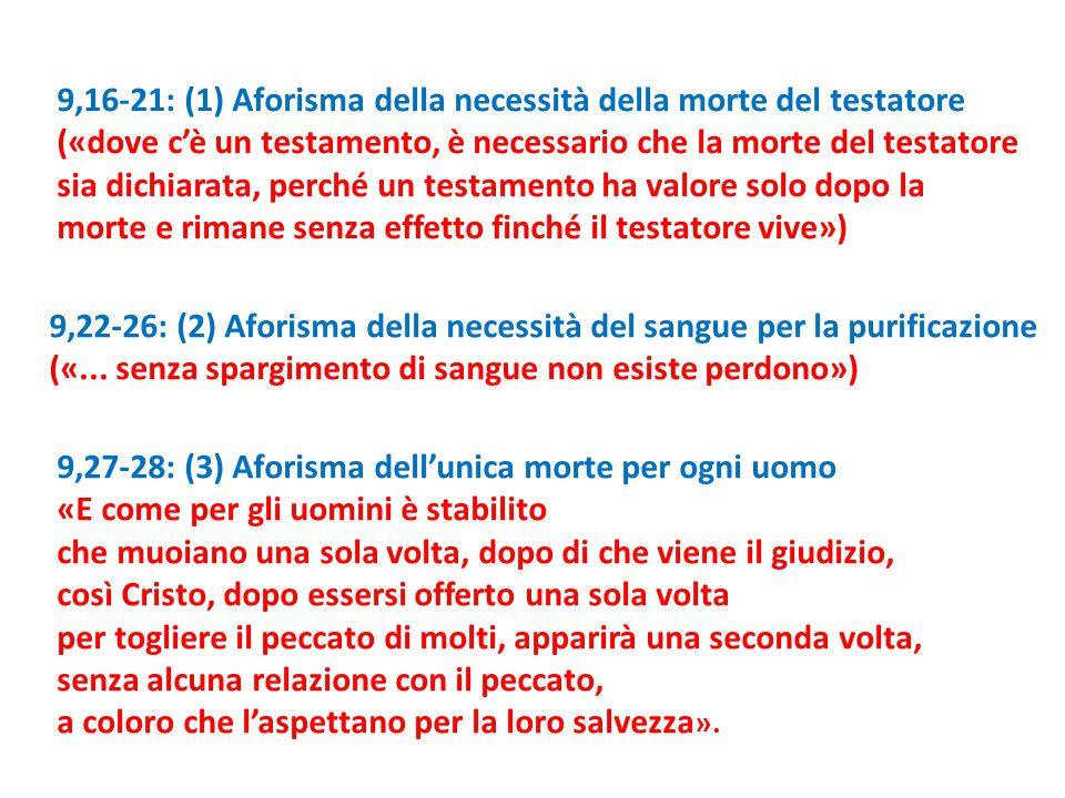 9,16-21: (1) Aforisma della necessità della morte del testatore («dove c'è un testamento, è necessario che la morte del testatore sia dichiarata, perc