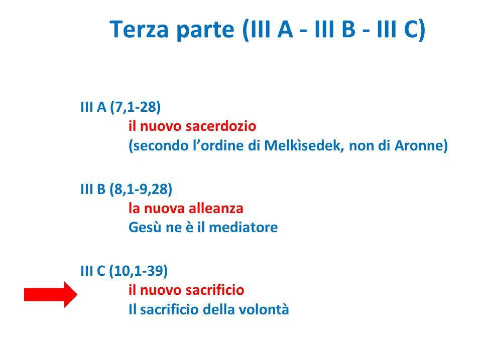 Terza parte (III A - III B - III C) III A (7,1-28) il nuovo sacerdozio (secondo l'ordine di Melkìsedek, non di Aronne) III B (8,1-9,28) la nuova allea