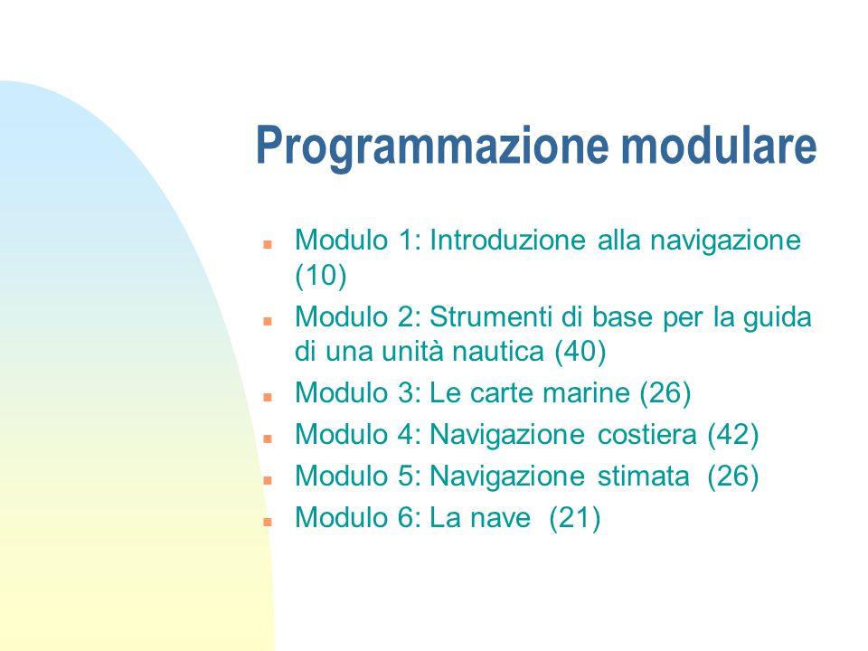 Programmazione modulare n Modulo 1: Introduzione alla navigazione (10) n Modulo 2: Strumenti di base per la guida di una unità nautica (40) n Modulo 3