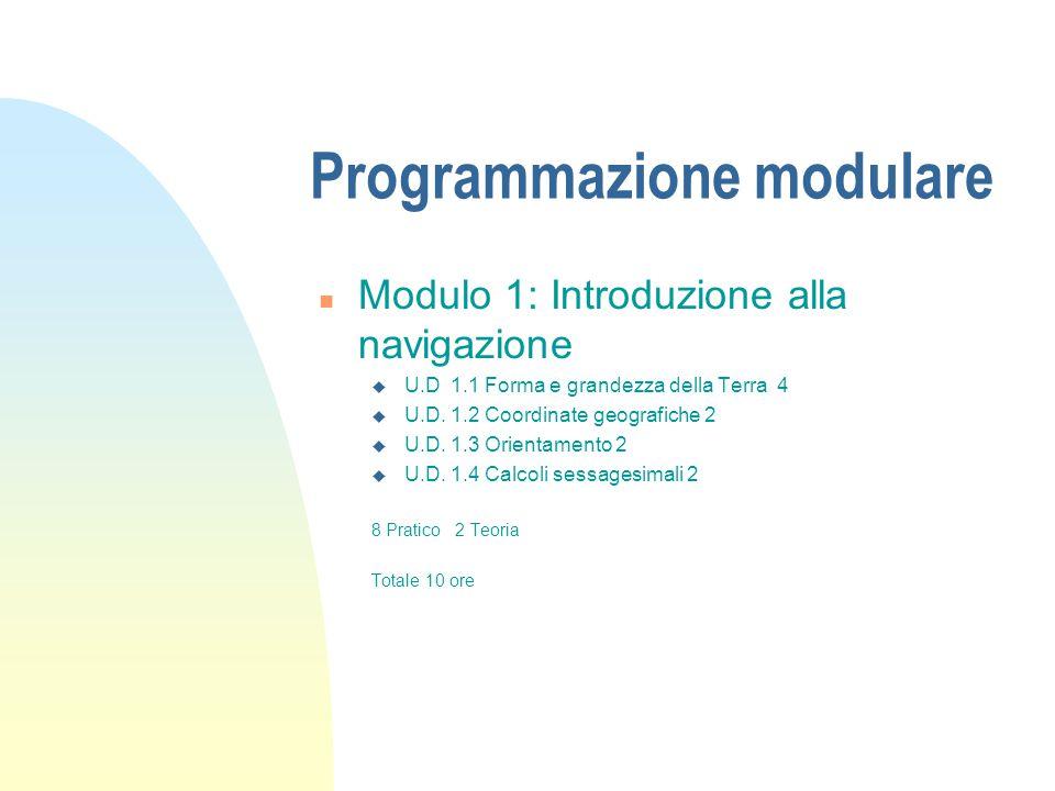 Programmazione modulare n Modulo 1: Introduzione alla navigazione u U.D 1.1 Forma e grandezza della Terra 4 u U.D. 1.2 Coordinate geografiche 2 u U.D.