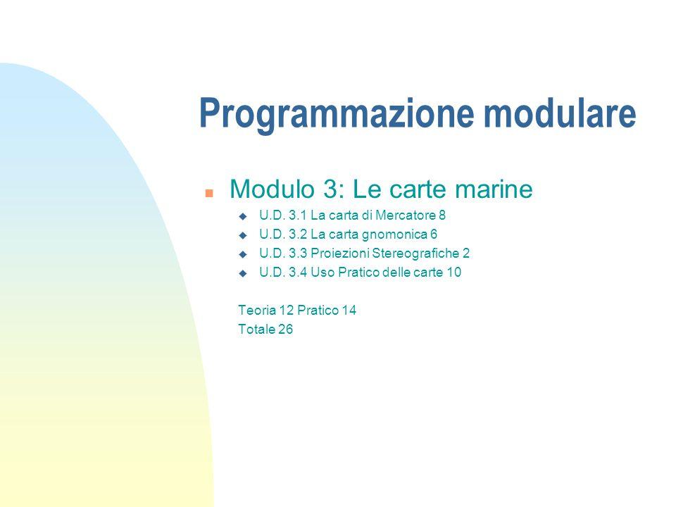 Programmazione modulare n Modulo 3: Le carte marine u U.D. 3.1 La carta di Mercatore 8 u U.D. 3.2 La carta gnomonica 6 u U.D. 3.3 Proiezioni Stereogra