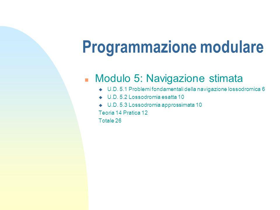 Programmazione modulare n Modulo 5: Navigazione stimata u U.D. 5.1 Problemi fondamentali della navigazione lossodromica 6 u U.D. 5.2 Lossodromia esatt