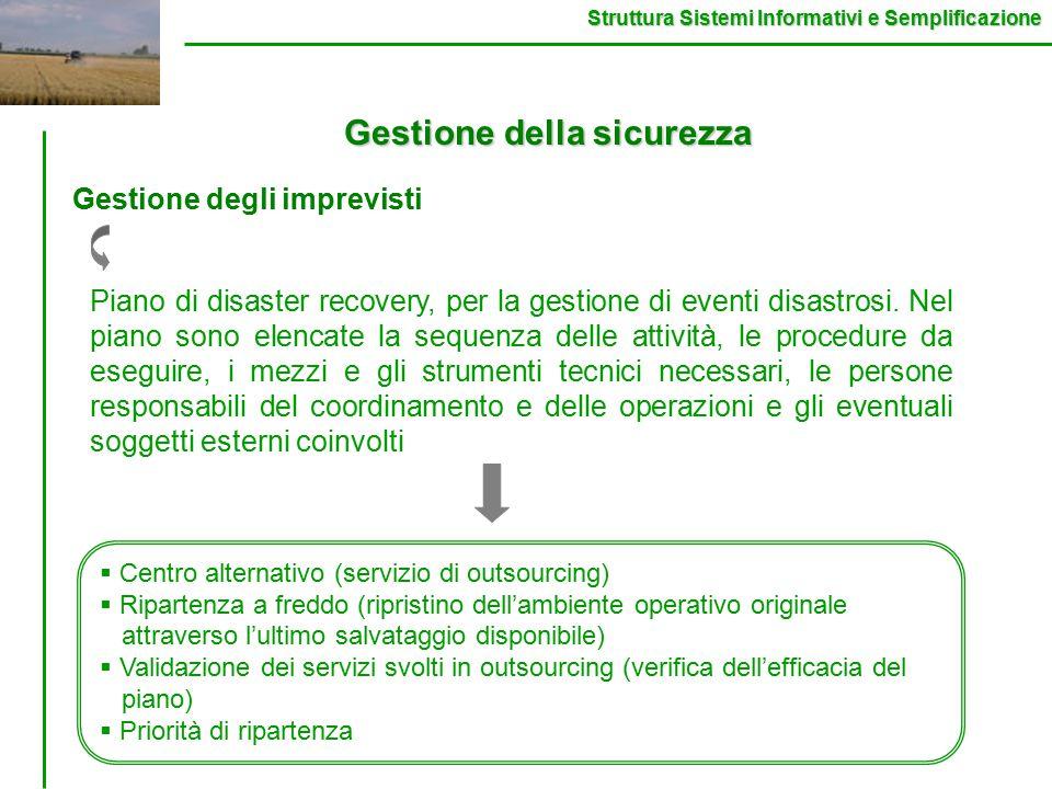 Struttura Sistemi Informativi e Semplificazione Gestione della sicurezza Gestione degli imprevisti Piano di disaster recovery, per la gestione di eventi disastrosi.
