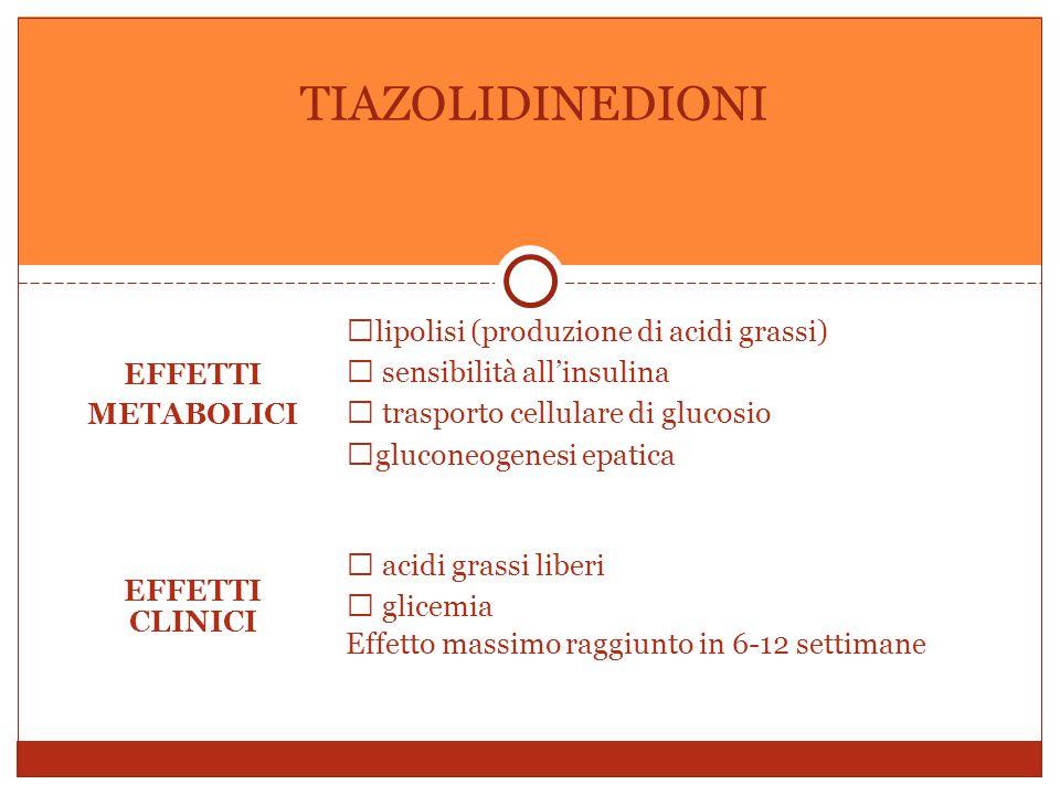 EFFETTI METABOLICI  lipolisi (produzione di acidi grassi)  sensibilità all'insulina  trasporto cellulare di glucosio  gluconeogenesi epatica EFFETTI CLINICI  acidi grassi liberi  glicemia Effetto massimo raggiunto in 6-12 settimane TIAZOLIDINEDIONI