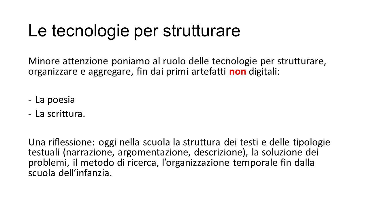Le tecnologie per strutturare Minore attenzione poniamo al ruolo delle tecnologie per strutturare, organizzare e aggregare, fin dai primi artefatti no