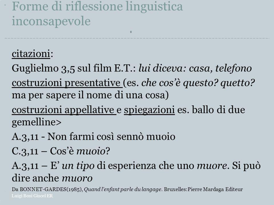 Forme di riflessione linguistica inconsapevole citazioni: Guglielmo 3,5 sul film E.T.: lui diceva: casa, telefono costruzioni presentative (es. che co