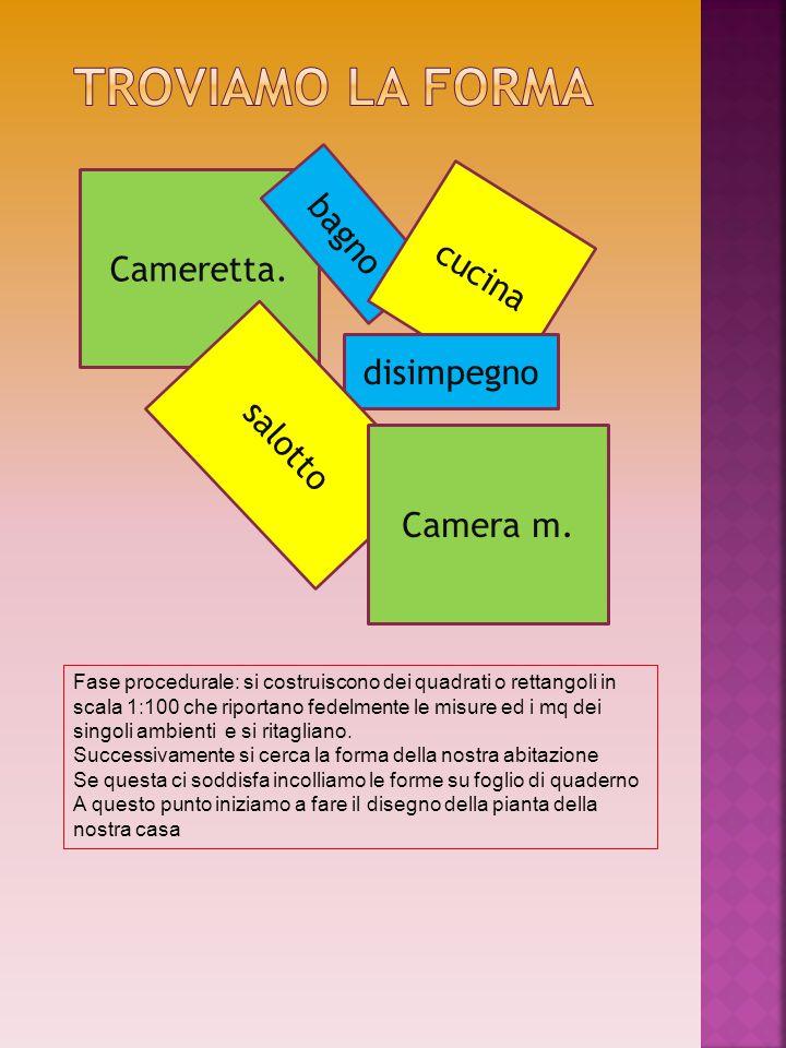 Cameretta. bagno cucina disimpegno salotto Camera m. Fase procedurale: si costruiscono dei quadrati o rettangoli in scala 1:100 che riportano fedelmen